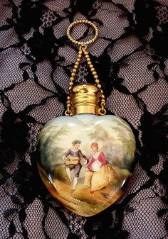 RARE Antique VICTORIAN Perfume Bottle Chatelaine Ring Heart Lovers from yearsafter on Ruby Lane