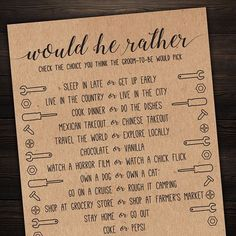Would He Rather . Would He Rather Wedding Shower Game . B Would He Rather . Would He Rather Wedding Shower Game . Wedding Games, Wedding Events, Wedding Reception, Wedding Speeches, Wedding Ideas, Weddings, Reception Ideas, Wedding Bells, Wedding Details