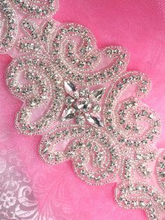 TS102 Large Silver Beaded Crystal Rhinestone Applique 15""