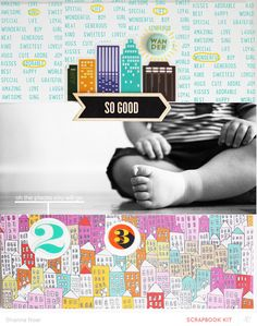 Love this picture of just the bottom half of the kid. Something different.   [#Papercraft #Scrapbook #Layout.  So Good by Shanna Noel at @studio_calico]