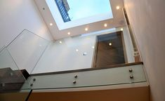 Queens Gardens - Staircase with glass balustrade modern staircase Floating Staircase, Modern Staircase, Staircase Design, Windmill Hill, Stair Well, Glass Stairs, Glass Balustrade, American, London