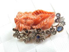 Stunning Art Nouveau carved Coral,Sapphire & Diamond heavy 14k gold brooch