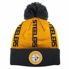 Pittsburgh Steelers Mitchell   Ness Vertical Cuffed Knit Hat w  Pom f49e0fb3e