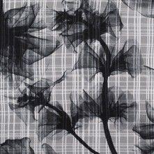 Jason+Wu+Black/Silver+Floral+Plaid+Novelty+Silk+Chiffon