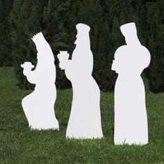 Silhouette White Outdoor Nativity Set - Three Wisemen by Outdoor Nativity Store