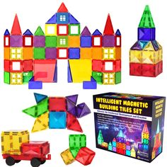 Desire Deluxe Magnetic Tiles Blocks Building Set for Kids ? Learning Educational Toys for Boys Girls for Age 3 - 8 Year-Old ? Birthday Present Gift (57PC) ** Click image to review more details. (This is an affiliate link)