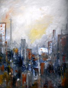 Cityscape Abstract Painting. modern home design ideas great gift
