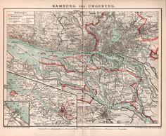 1898 Hamburg Stadtplan Hannover und von Craftissimo auf Etsy