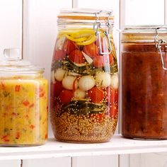 Here is a delicious recipe for Pickled vegetables. Browse though a wide variety of recipes, tips and inspiring ideas. Harvest Pictures, Chutney, Food Inspiration, Pickles, Chili, Food And Drink, Zucchini, Snacks, Canning