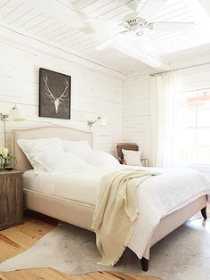 Living Room - Country Living White painted knotty pine walls
