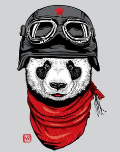 """This cute and happy panda (named 飛貓, means """"flying cat"""") in adventurer clad is ready to fly. The vintage helmet and the oriental cloud patterned red scarf make him looks so cool.  Top 50 Tees of Design by humans"""