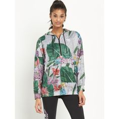 Adidas Originals Originals 'Floral Training' Overhead Jacket (€85) ❤ liked on Polyvore featuring outerwear, jackets, flower print jacket, training jacket, floral jacket, white floral jacket и adidas originals