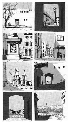 1961 GORDON CULLEN Townscapes sketches