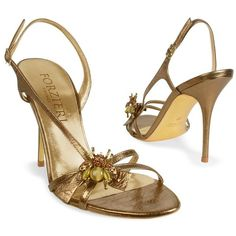 Forzieri Bumble Bee Bronze Metallic Leather Sandal Shoes ($146) ❤ liked on Polyvore