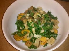 Kale with Sweet Potato and Vidalia Onion.  Healthy, Vegan, Low Fat, High Fiber, High Protein, Low G.I.