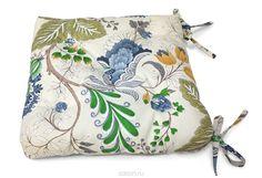 """Подушка на стул """"Федерика"""", цвет: бежевый, синий, 40 х 40 см"""