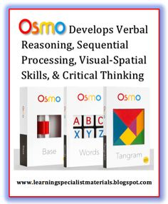 OSMO Develops Verbal Reasoning, sequential processing, visual-spatial skills, nonverbal reasoning, executive functioning and critical thinking skills.  Come learn about my personal experience with this new technology.