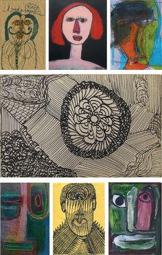 7 Arbeiten von Aussenseiterkünstlern aus www.aussenseiterkunst.ch / www.outsider-art-brut.ch: 1.Noviadi Angkasapura, 2. Camel Nehdi, 3. Teddy Deroncq, 4. Madge Gill, 5. Isabelle Lanchon, 6. Ernst Kolb und schliesslich 7. Jaber al-Mahjoub