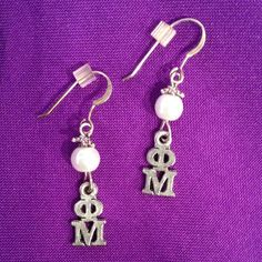 Phi Mu Lavaliere Pearl Earrings on Sterling Earwires - pinned by pin4etsy.com