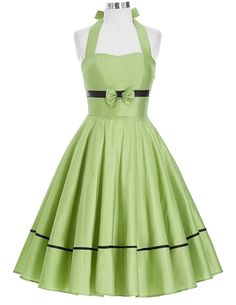 Specifics    DecorationBow  WaistlineNatural  Sleeve StyleOff the Shoulder  Pattern TypeSolid  Style40s 50s 60s 70s big swing/pin up  MaterialPolyester,Spandex  Dresses LengthKnee-Length/ midi  NecklineHalter  SilhouetteA-Line  Sleeve LengthSleeveless  ColorLight Green  DescriptionHalter design,bow-knot,zipper | Shop this product here: spreesy.com/shopforgoodies/478 | Shop all of our products at http://spreesy.com/shopforgoodies    | Pinterest selling powered by Spreesy.com