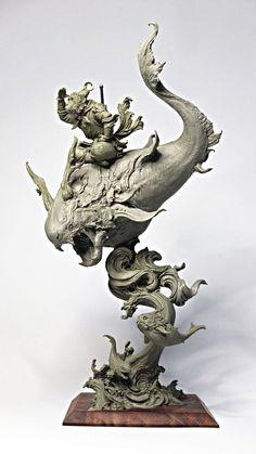 """高木アキノリ 在 Twitter:""""新世代造形大賞に出品していた作品が竹谷賞いただけました、普段あまり話す機会の無い人達とも話せてすごく楽しいイベントでした!… Character Art, Character Design, Asian Sculptures, Traditional Sculptures, Art Sculpture, Wow Art, Creature Design, Zbrush, Clay Art"""
