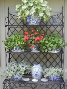 blue & white on outdoor baker's rack