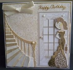 Card made using the Style and Elegance lady die Eliza and CD Rom and the stairway die