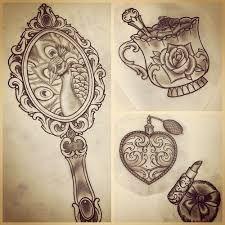 Afbeeldingsresultaat Voor Ornate Hand Held Mirrors Drawings Mirror Tattoos Vintage Mirror Tattoo Tattoos