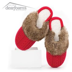 The holidays will be a walk in the park with these adorably festive Sweater Knit Clogs. Dearfoams Chalet Collection #slippers