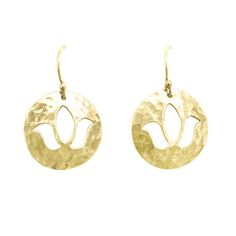 Disc Charm Lotus Earrings in 22KT Yellow Gold. Shop this look at www.murkani.com.au