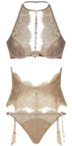 Agent Provocateur | Gayle - in golden Leavers lace & lurex...