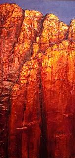 "CAROL NELSON FINE ART BLOG: ""RED CLIFF"" 11011, daily painter aluminum abstract © Carol Nelson Fine Art"