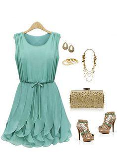 Tiered Ruffles Dress - Mint  $39.00