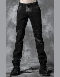 Pantalon gothique noir homme PUNK RAVE en tissu imprimé ton sur ton de très  discrètes têtes d3098c3087dd