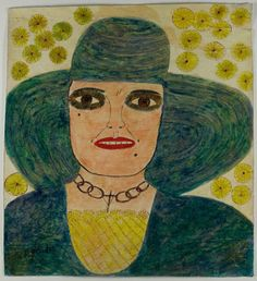 """untitled work by Lee Godie (Jamot Emily Godee) - (1908-1994),  American self-taught artist - she often painted female busts, which she felt were """"an expression of beauty."""" (wiki - The Art Institute of Chicago)"""