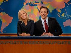 Seth Meyers and Amy Poehler. I really only care about Weekend Update on SNL nowadays Amy Poehler Snl, Snl Weekend Update, Kevin Nealon, Snl Cast Members, Snl Skits, Seth Meyers, John Mulaney, Parks N Rec, Comedy Tv