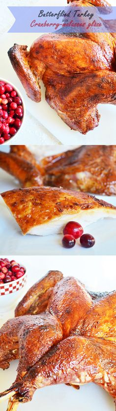 An impressively delicious turkey that departs from the ordinary roasted bird by cooking faster and turning out moist seasoned meat with a blend of molasses and cranberry flavors perfect for the holidays!