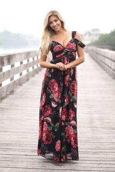 Black Floral Off Shoulder Maxi Dress Return - store credit only