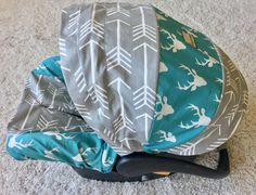 Infant Car Seat Cover - Grey Arrows and Teal Deer