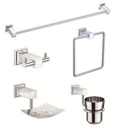 Jwell Silver Stainless Steel 5-piece Bathroom Fixture Set