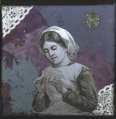 Vintage Collage on Canvas  A Contemplative Seamstress by rhodyart