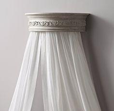 "25""   Vintage Grey Demilune Carved Wood Canopy Bed Crown"