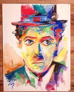 Charlie Chaplin técnica mixta, lápices acuarelables+posca sobre papel