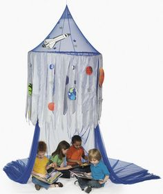 Solar System Space Canopy Tent : Hang them in corners of the room to create fun reading areas in your child's bedroom or classroom. Made of nylon. Includes dangling plush planets. 91.4 cm diameter at top of canopy, 3.05 m high. Seats up to 25 children