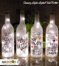 Lighted Wine Bottle The Love between A Mother and Daughter is Forever Mother Daughter Gift