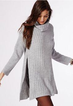 Kerena Extreme Side Split Roll Neck Knitted Jumper Grey - Knitwear - Missguided
