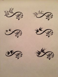 Infinity sign adorned with swallows and lotus flower tattoo design ideas...