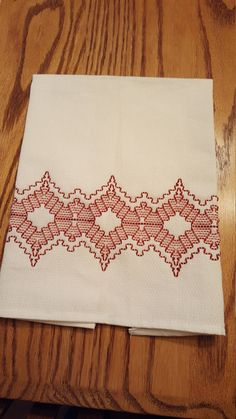 Swedish Weaving also known as Huck Embroidery. First popular in the US in the 30s and 40s. Which is my favorite embroidery to do today. This needle work uses embroidery floss or thread to embellish plain Huck towel by threading floss through raised threads on one side of the