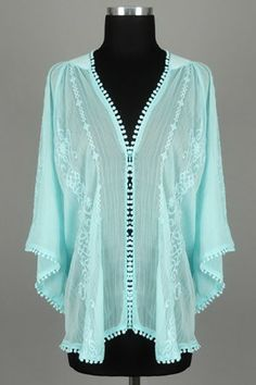 So pretty #plus Crinkled Chiffon Kaftan Blouse with Flared Sleeves