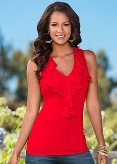 Feminine and romantic red top. Pair with a black pencil skirt & peep toe heels